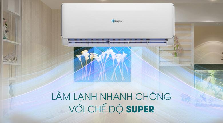 Máy lạnh 2 chiều Casper 1 HP EH-09TL22-Tỏa nhanh hơi lạnh, làm mát tức thì nhờ chế độ làm lạnh Super