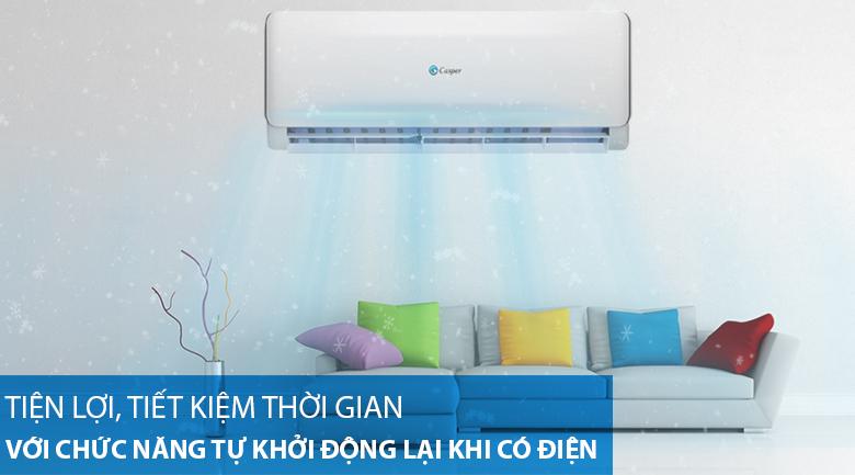 Máy lạnh 2 chiều Casper 1 HP EH-09TL22-Tiết kiệm thời gian thao tác với tính năng tự khởi động lại khi có điện