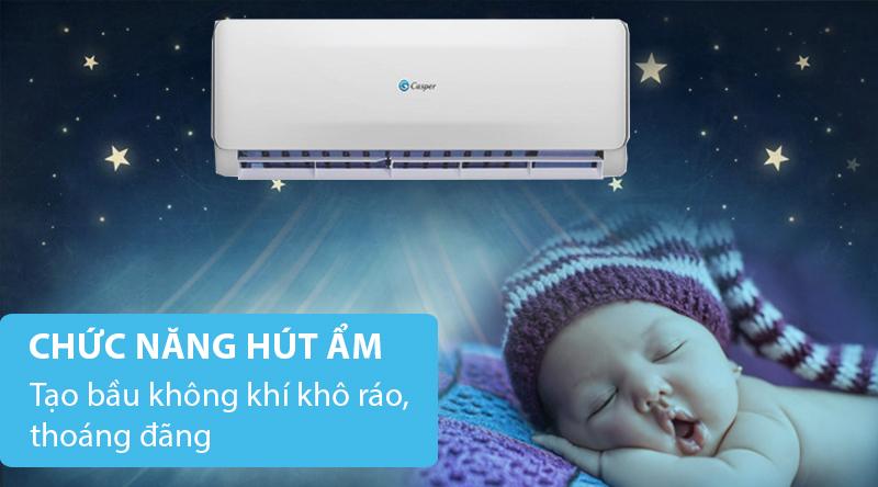 Máy lạnh 2 chiều Casper 1 HP EH-09TL22-Tạo bầu không khí khô ráo, thoáng đãng với chức năng hút ẩm
