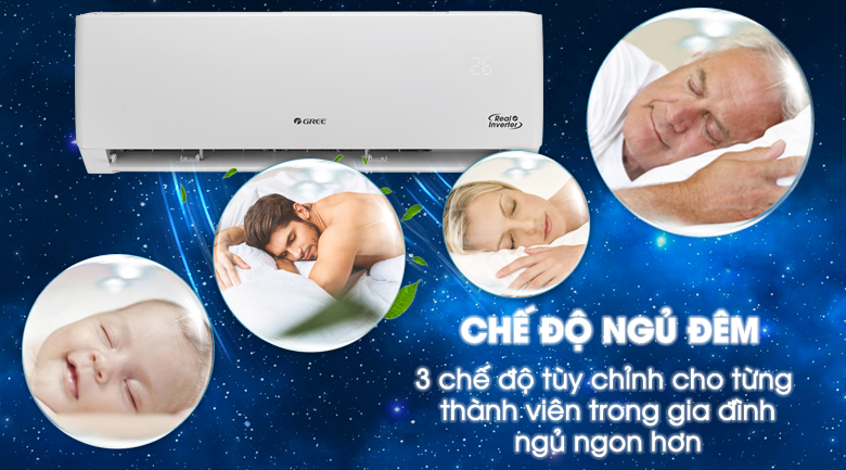 Máy lạnh Gree Inverter 2 HP GWC18PC-K3D0P4 - 3 chế độ ngủ