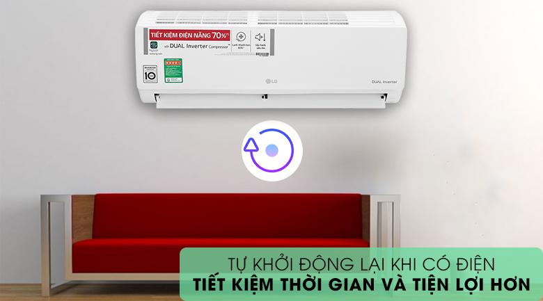Máy lạnh LG Inverter 9200 BTU V10ENH1 - Khởi động lại khi có điện