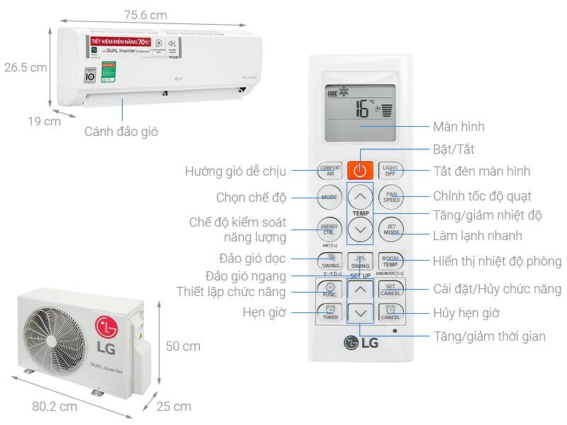Thông số kỹ thuật Điều hòa LG Inverter 9200 BTU V10ENH1