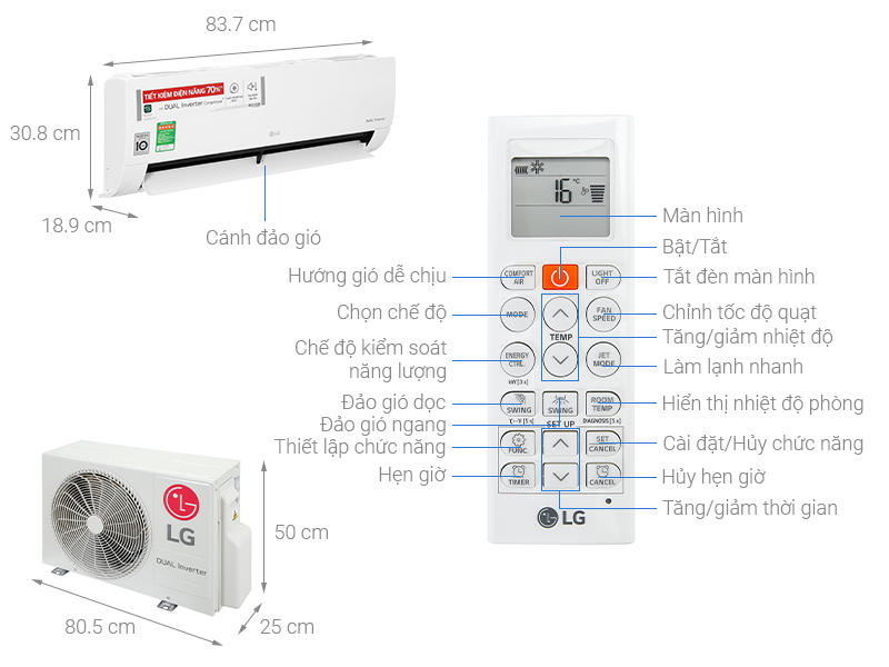 Thông số kỹ thuật Điều hòa LG Inverter 11200 BTU V13ENH1