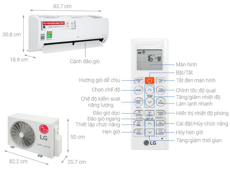 Thông số kỹ thuật Máy lạnh LG Inverter 1 HP V10API1
