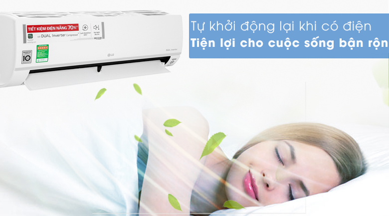 Máy lạnh LG Inverter 9200 BTU V10API1 - Khởi động lại khi có điện