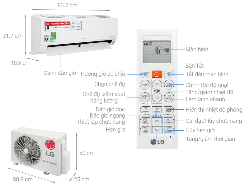 Thông số kỹ thuật Máy lạnh LG Inverter 1.5 HP V13API1