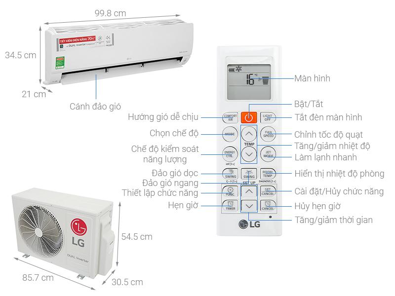 Thông số kỹ thuật Máy lạnh LG Inverter 2 HP V18API1