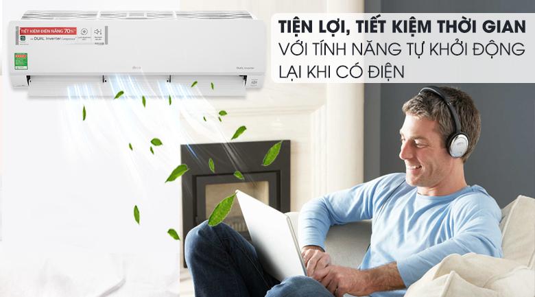 Máy lạnh LG Inverter 2 HP V18API1  - Khởi động lại khi có điện