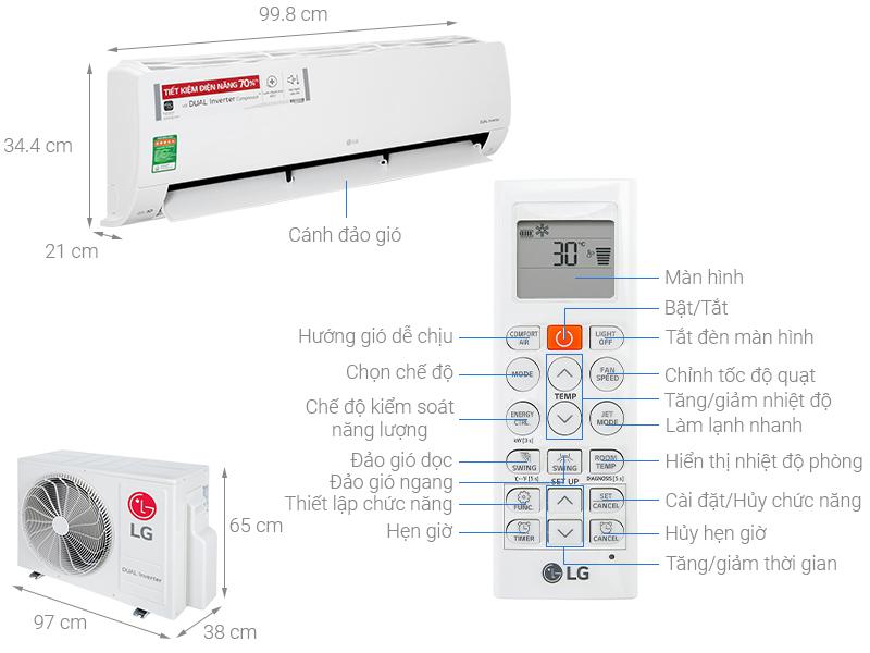 Thông số kỹ thuật Điều hòa LG Inverter 21000 BTU V24ENF1