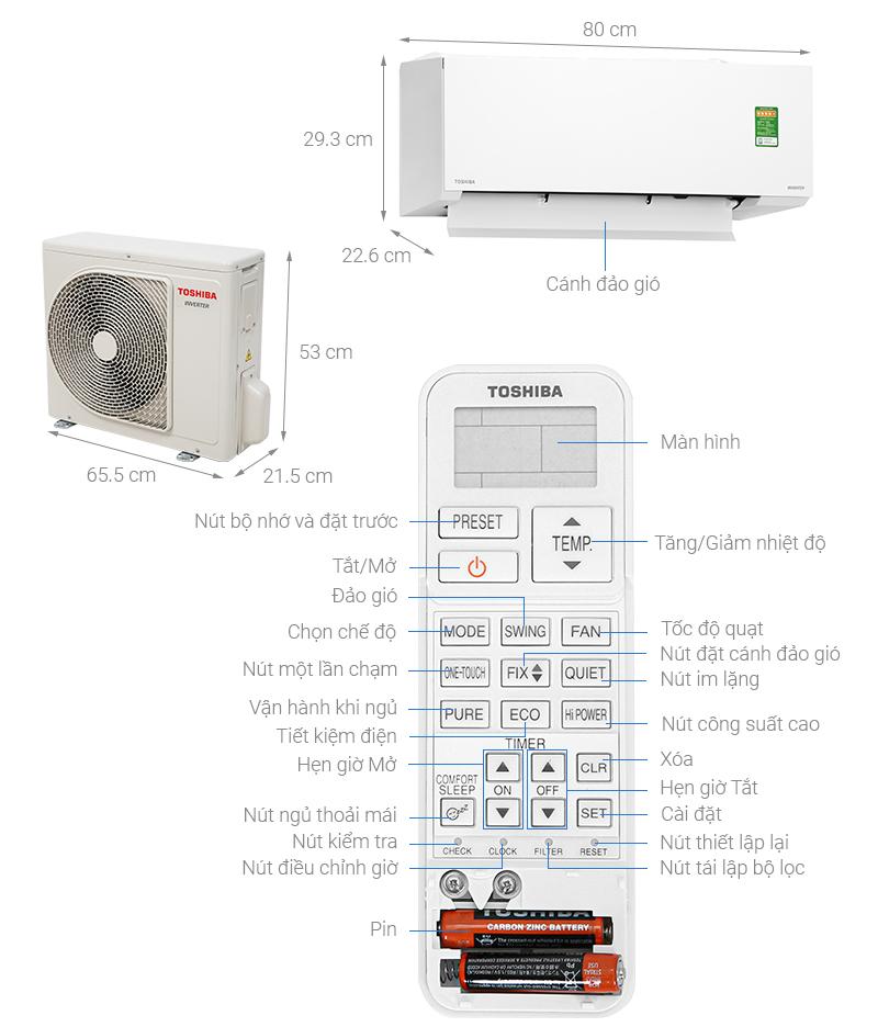 Thông số kỹ thuật Điều hòa Toshiba Inverter 9000 BTU RAS-H10E2KCVG-V