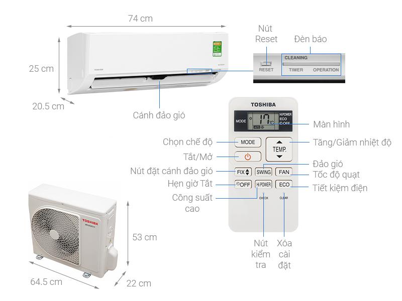 Thông số kỹ thuật Điều hòa Toshiba Inverter 9000 BTU RAS-H10L3KCVG-V