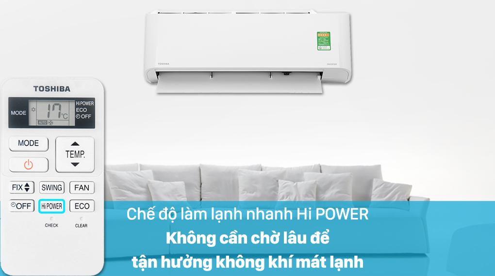Máy lạnh Toshiba Inverter 12000 BTU RAS-H13L3KCVG-V-Làm lạnh nhanh tức thì nhờ chế độ Hi Power