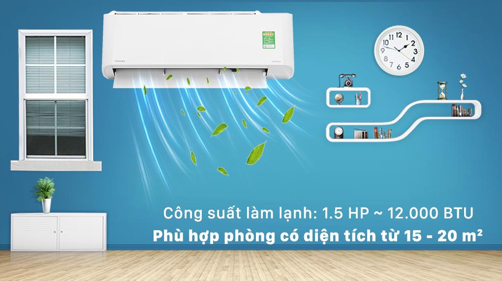 Máy lạnh Toshiba Inverter 12000 BTU RAS-H13L3KCVG-V-Công suất 12000 BTU, phù hợp cho căn phòng diện tích từ 15 - 20 m2