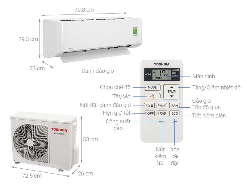 Thông số kỹ thuật Điều hòa Toshiba Inverter 12000 BTU RAS-H13L3KCVG-V