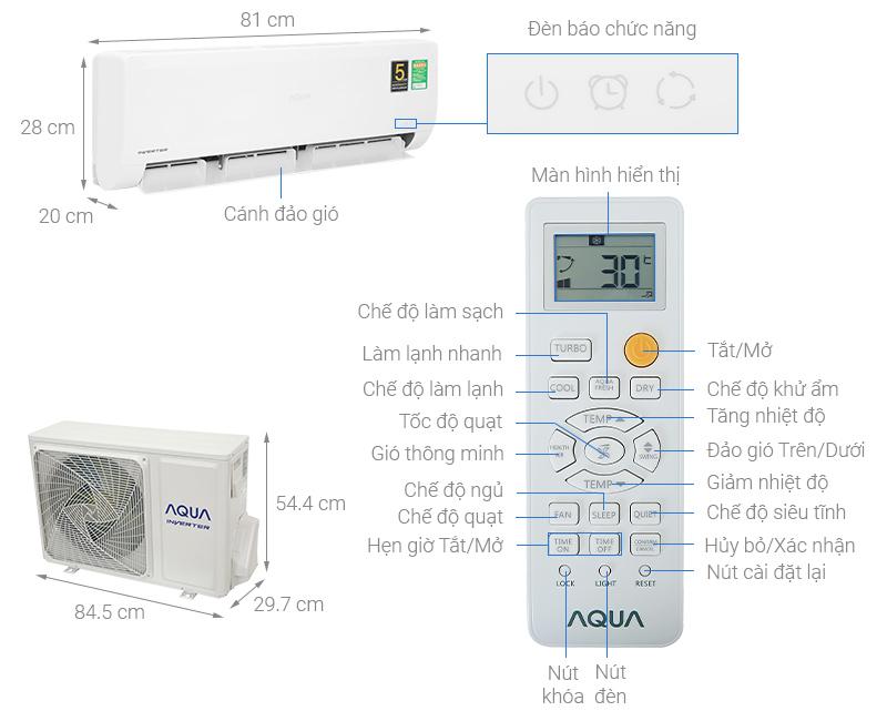 Thông số kỹ thuật Điều hòa Aqua Inverter 9110BTU AQA-KCRV10WNZA