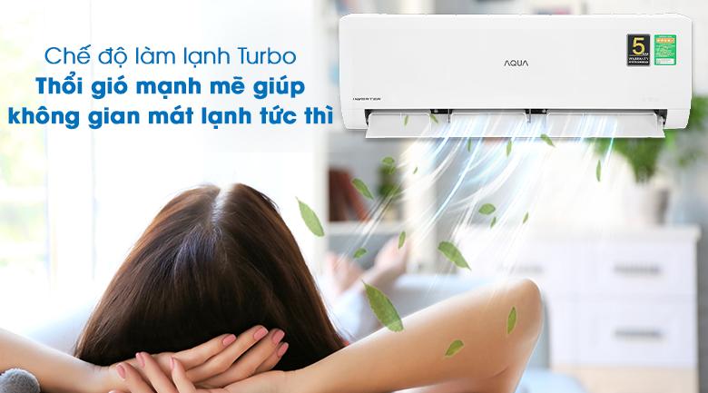 Máy lạnh Aqua Inverter 1HP AQA-KCRV10WNZA - Làm lạnh nhanh Turbo