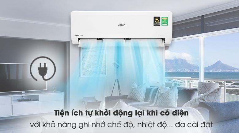 Máy lạnh Aqua Inverter 1HP AQA-KCRV10WNZA - Tự khởi động lại khi có điện