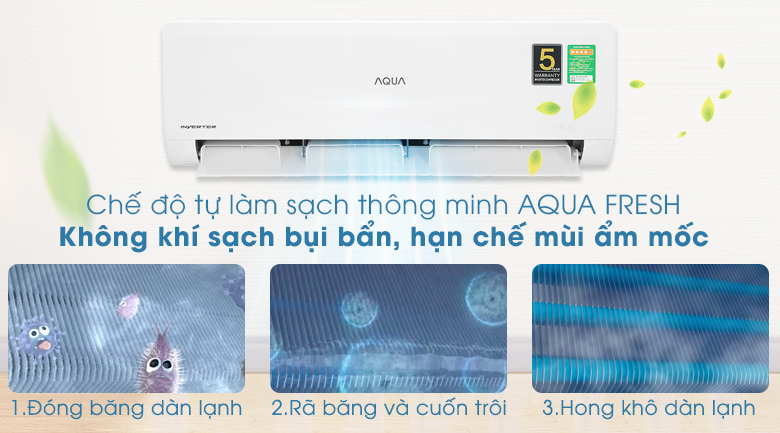 Máy lạnh Aqua Inverter 1HP AQA-KCRV10WNZA - Chế độ làm sạch 3 bước AQUAFRESH