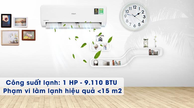 Máy lạnh Aqua Inverter 1HP AQA-KCRV10WNZA - Công suất 9110 BTU