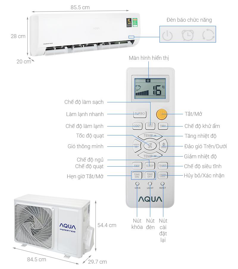 Thông số kỹ thuật Điều hòa Aqua Inverter 12011 BTU AQA-KCRV13WNZA