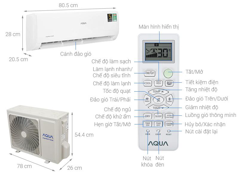 Thông số kỹ thuật Điều hòa Aqua Inverter 9200 BTU AQA-KCRV10TK