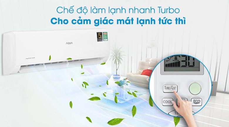 Máy lạnh Aqua Inverter 9200 BTU AQA-KCRV10TK - Làm lạnh nhanh Turbo