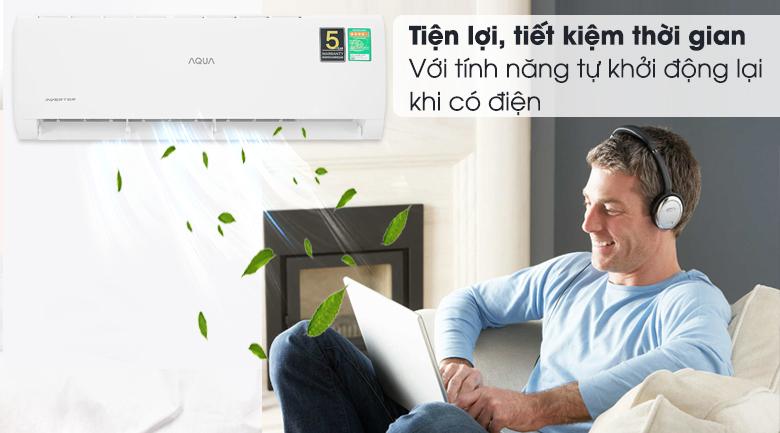 Máy lạnh Aqua Inverter 9200 BTU AQA-KCRV10TK - Tự khởi động lại khi có điện