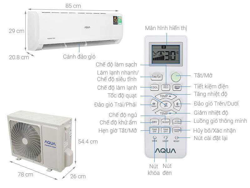Thông số kỹ thuật Máy lạnh Aqua Inverter  1.5 HP  AQA-KCRV13TK