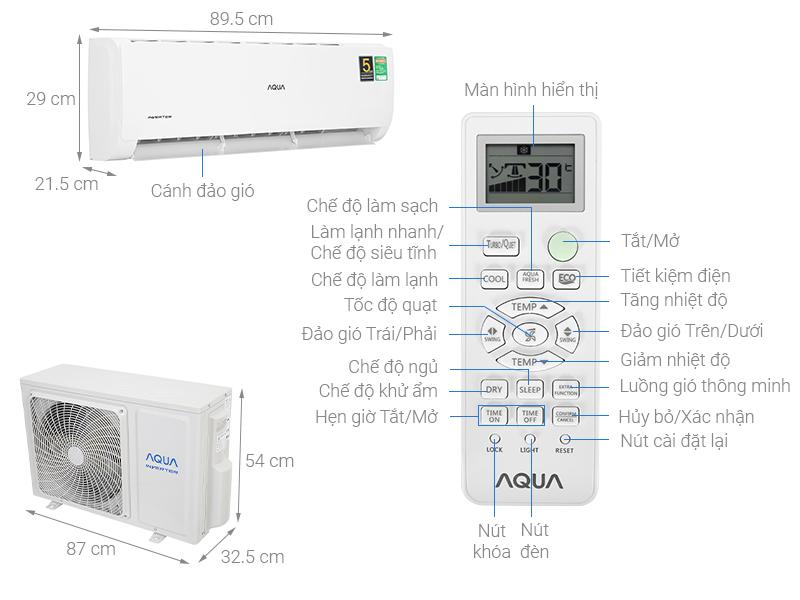 Thông số kỹ thuật Máy lạnh Aqua Inverter  2 HP  AQA-KCRV18TK