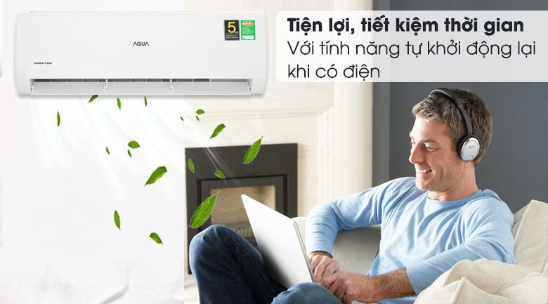 Máy lạnh Aqua Inverter 2 HP AQA-KCRV18TK - Tự khởi động lại khi có điện