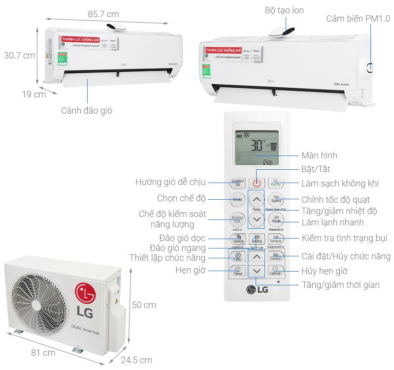 Thông số kỹ thuật Điều hòa LG Inverter 9200 BTU V10APFUV