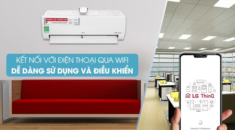Máy lạnh LG Inverter 9200 BTU V10APFUV-Điều khiển thông minh trên điện thoại nhờ tích hợp bộ phát wifi