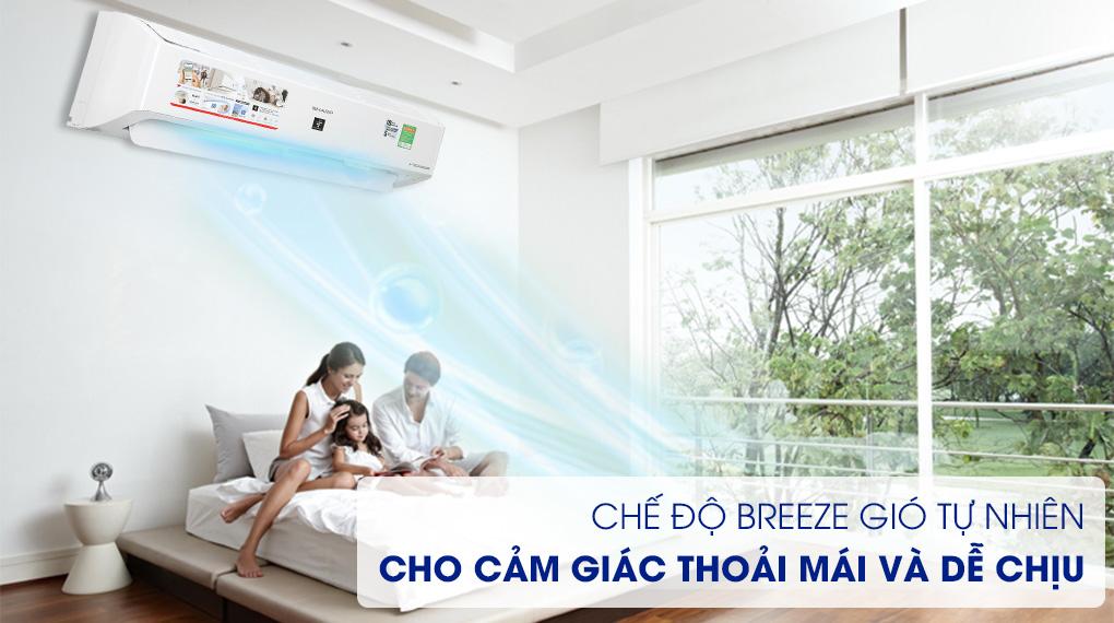 Máy lạnh Sharp Inverter 9000 BTU AH-XP10YMW - Bảo vệ sức khỏe cùng chế độ Breeze gió tự nhiên