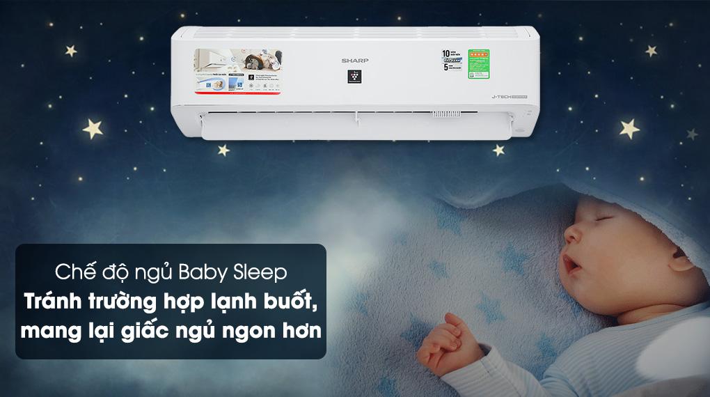 Chế độ Baby Sleep - Máy lạnh Sharp Inverter 12000 BTU AH-XP13YMW