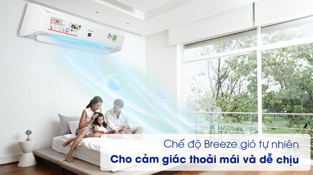 Máy lạnh Sharp Inverter 12000 BTU AH-XP13YMW -Bảo vệ sức khỏe cùng chế độ Breeze gió tự nhiên