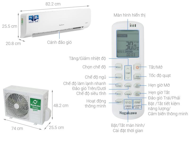 Thông số kỹ thuật Máy lạnh Nagakawa Inverter 1 HP NIS-C09R2H10