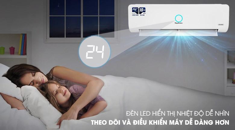 Máy lạnh Nagakawa Inverter 1 HP NIS-C09R2H10 - hiển thị nhiệt độ trên dàn lạnh