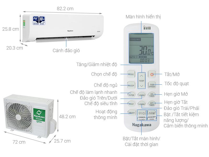 Thông số kỹ thuật Điều hòa Nagakawa Inverter 12000 BTU NIS-C12R2H10