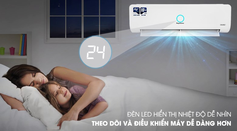 Máy lạnh Nagakawa Inverter 12000 BTU NIS-C12R2H10 - Đèn LED