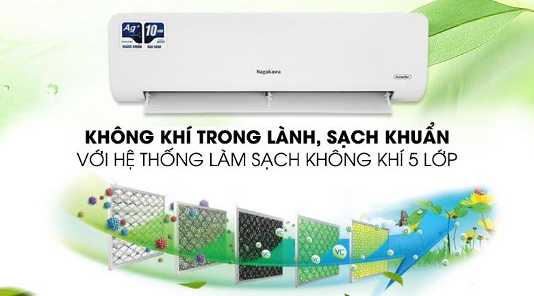 Máy lạnh Nagakawa Inverter 12000 BTU NIS-C12R2H10 - Bộ lọc 5 lớp