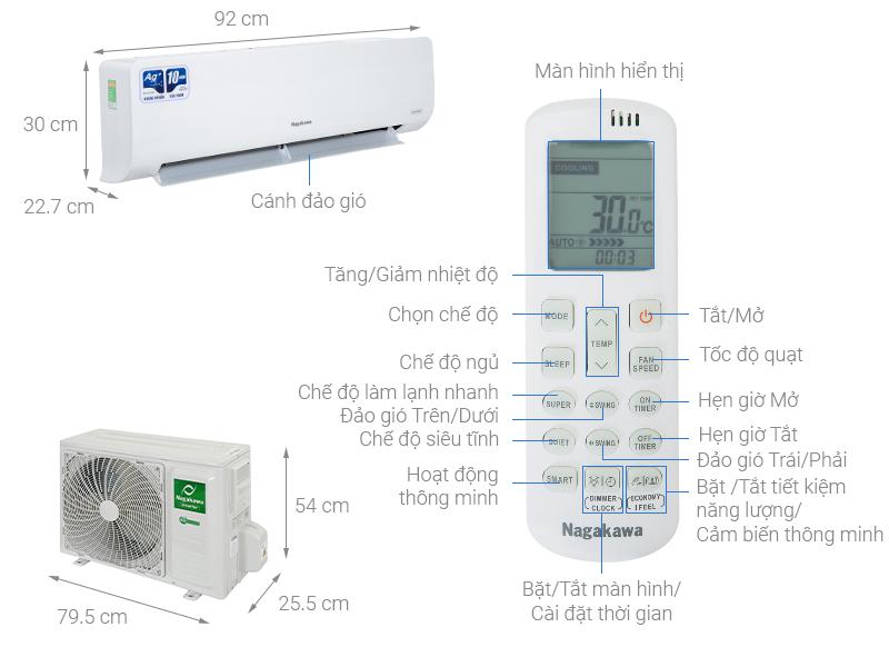 Thông số kỹ thuật Điều hòa Nagakawa Inverter 17500 BTU NIS-C18R2H10