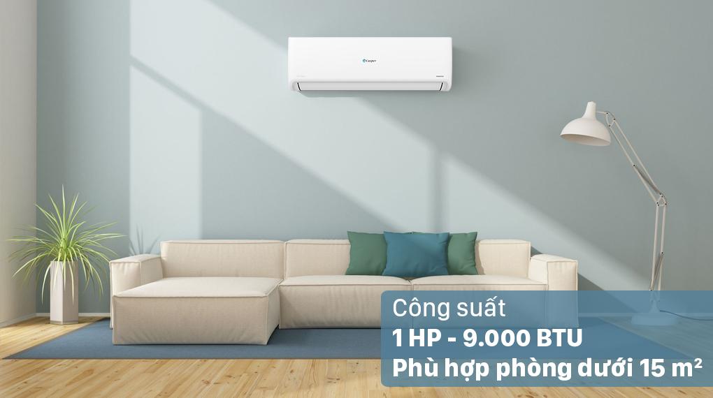 Máy lạnh Casper Inverter 1 HP GC-09IS32 - Công suất 1 HP, phù hợp lắp đặt trong căn phòng diện tích dưới 15m2