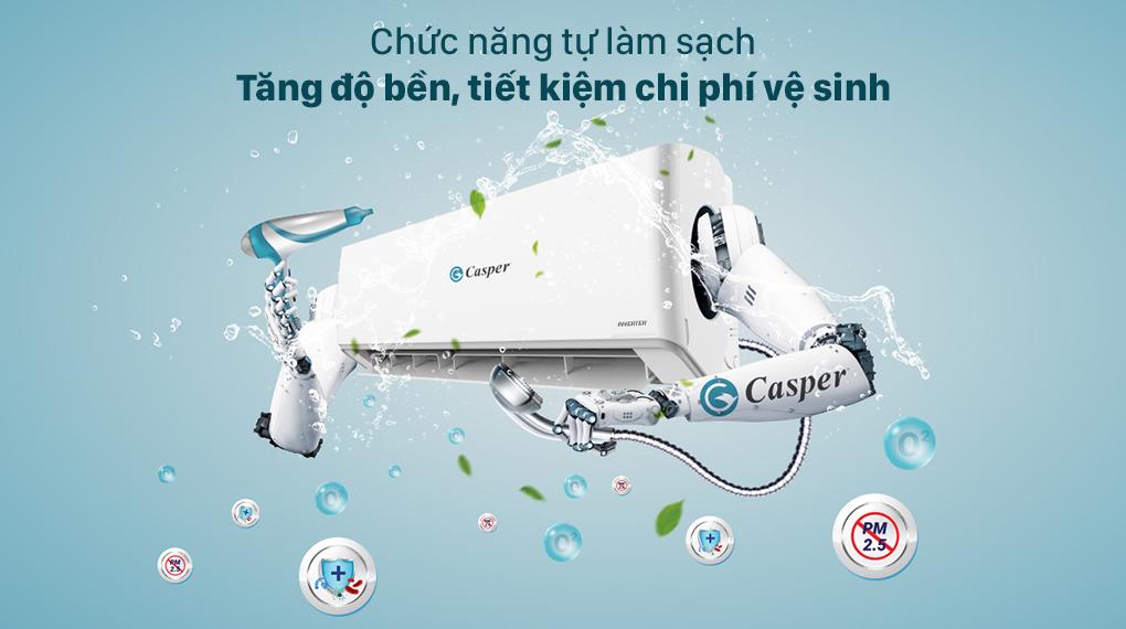 Máy lạnh Casper Inverter 1 HP GC-09IS32 - Nâng cao độ bền, tiết kiệm chi phí vệ sinh nhờ chức năng tự làm sạch