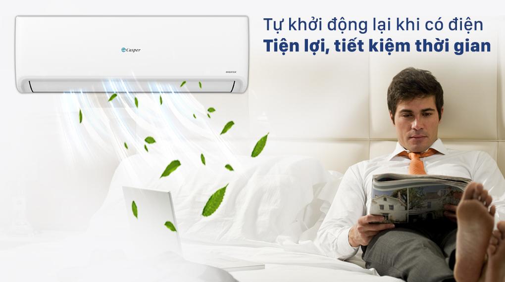 Máy lạnh Casper Inverter 1 HP có thể tự khởi động lại khi có điện tiện lợi
