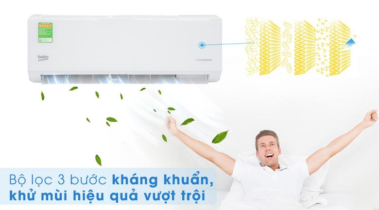 Máy lạnh Beko Inverter 1 HP RSVC09VT - 3 lớp lọc không khí