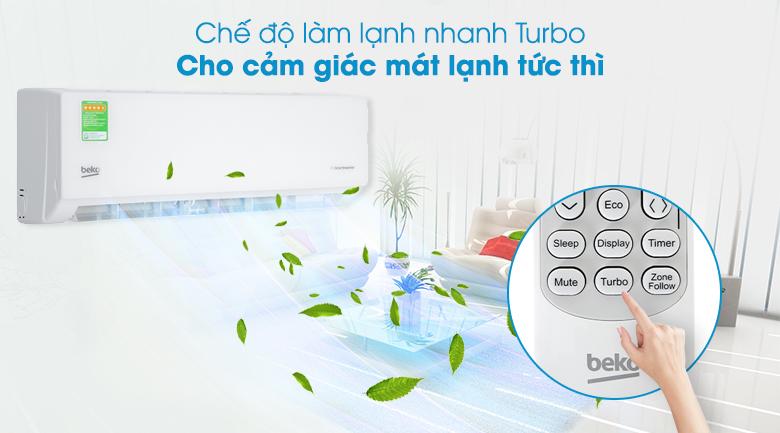 Máy lạnh Beko Inverter 1 HP RSVC09VT - Làm lạnh nhanh Turbo