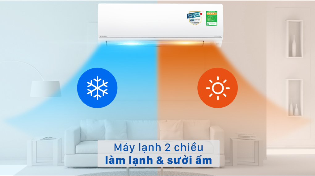 Máy lạnh 2 chiều Daikin Inverter 8500 BTU FTHF25VAVMV - Máy lạnh 2 chiều làm lạnh và sưởi ấm
