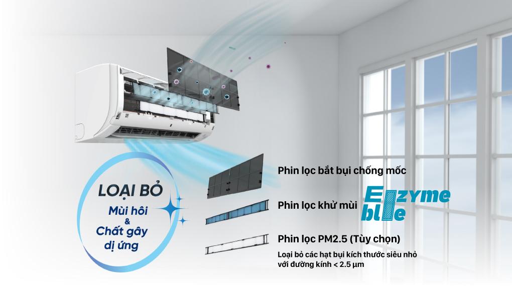 Máy lạnh Daikin Inverter 1 HP FTKZ25VVMV - Phin lọc Enzyme Blue khử mùi, giảm 99.9% một số loại vi khuẩn