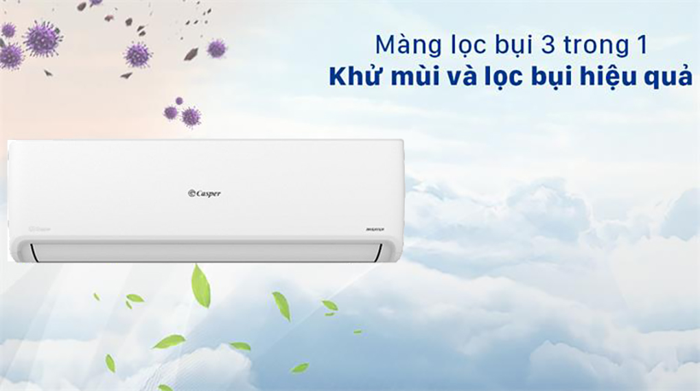 Máy lạnh Casper Inverter 2.5 HP GC-24IS32 - Tấm lọc khí 3 trong 1