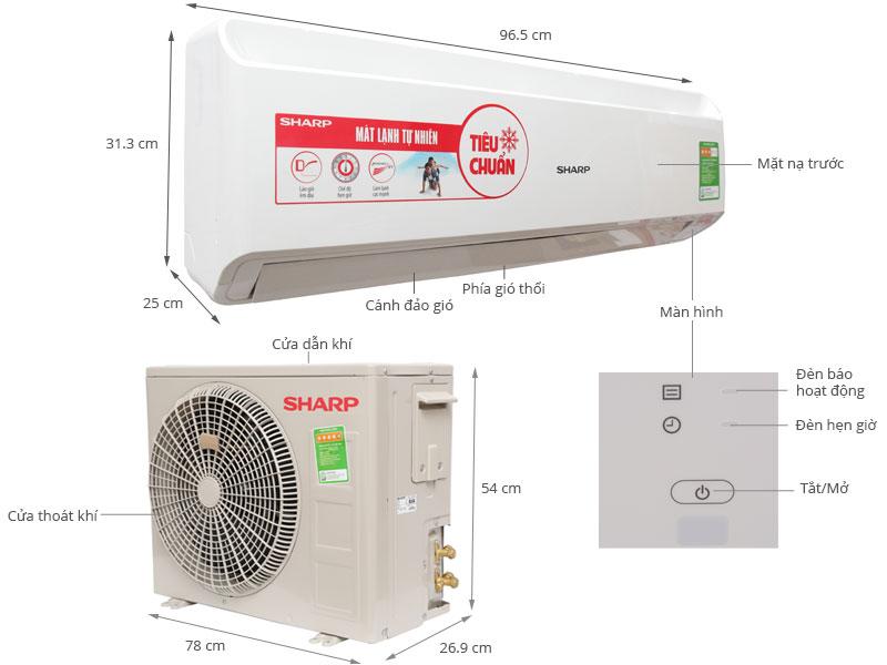 Thông số kỹ thuật Máy lạnh Sharp 1.5 HP AH-A12PEW